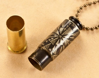 "Time capsule necklace - ""Fractures In Time"" etched bullet casing pendant - bullet jewelry"