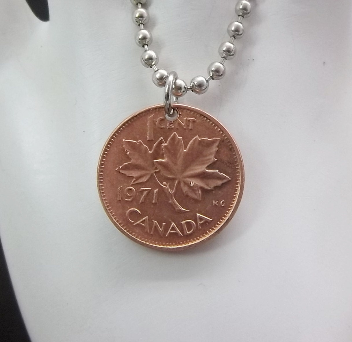 Canadian Coin Necklace Maple Leaf 1 Cent Coin Men S