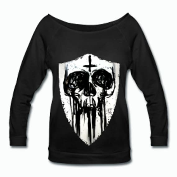 Inky Skull Shield Wideneck 3/4 Sleeve Shirt