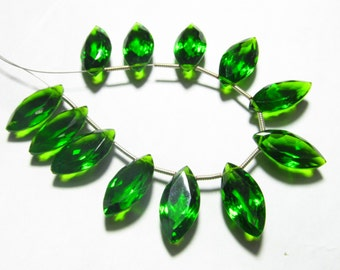 5 Matched Pairs - EMERALD GREEN QUARTZ - Super Sparkle Fine Cut Marquise Briolettes 9x18 mm Long Size