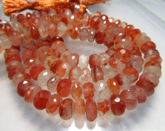 8 Inches - AAA - High Quality Natural -STRAWBERRY QUARTZ - Micro Faceted Rondell Beads size 7 mm approx amazing Rare Quality