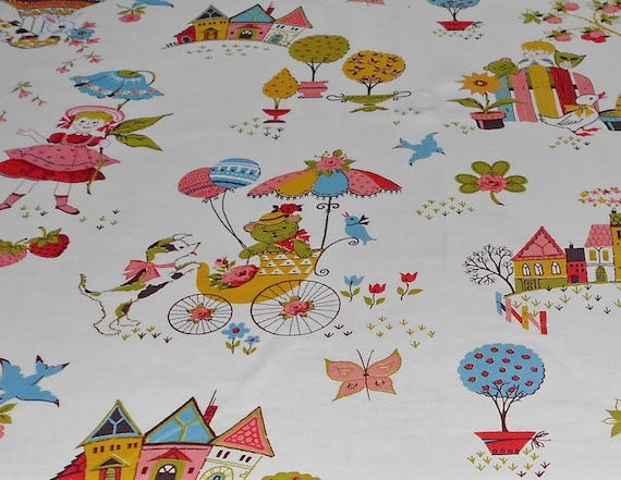 Sale vintage childrens fabric panels sweet 4 for Childrens fabric sale