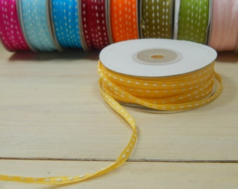 50 Yard Full Reel 3mm Double-Sided Sitched Organza Ribbon in Banana Yellow