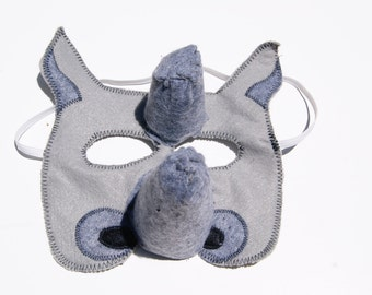 Rhino Felt Mask, Animal Mask, Animal Birthday Party Favors, Children's Halloween Costume, Adult Mask