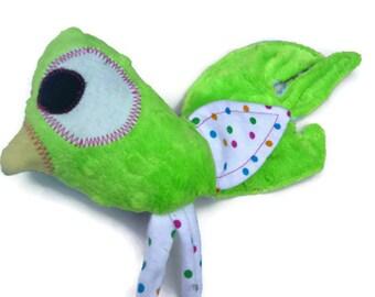 Security Blanket Lovie, Plush Bird Lovey, Baby Girl Soft Toy, Woobie, Green Dot Minky Luvie, Baby Shower Gift READY TO SHIP