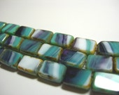 Czech Glass Table Cut Rectangles 8x12mm Turquoise and Amethyst w/ Picasso - 16 beads