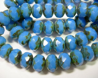25 8x6mm Cornflower Blue Picasso Czech Fire polished Rondelle beads