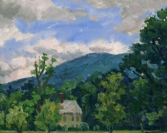 Summer Clouds, Berkshires. Realist Oil Painting Landscape, Small Plein Air Impressionist Oil on Panel, 6x9 Signed Original Fine Art