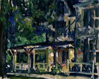 Tanglewood Nocturne. 8x10 Oil Painting on Panel, Impressionist Plein Air Landscape, Berkshires Night Scene, Signed Original Fine Art