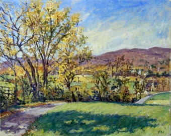 Autumn Afternoon, Berkshires. Signed Original Landscape Painting, 16x20 Plein Air Impressionist Oil on Canvas, Realist Fine Art