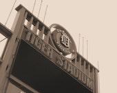 Old Detroit Tiger Stadium Sign Sepia Print