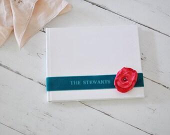 Custom Bridal Shower Guestbook - Velvet Sash & Handmade Silk Flower Custom Book design by Claire Magnolia