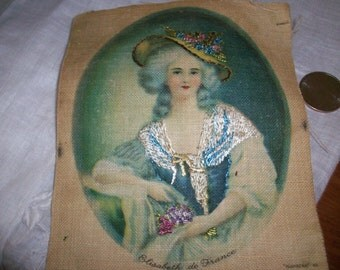 Antique lithograph embroidered applique on linen
