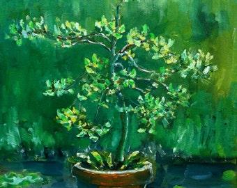 Apple Tree in pot oil painting original by Nancy van den Boom 11,8 x 15,8 inches