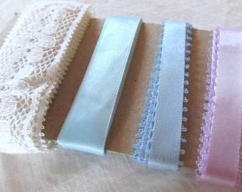 RIBBON & LACE SAMPLER ecru lace, ribbon in sky blue, baby blue, and lavender (approximately 5 3/4 yards total)