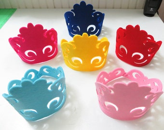 Six Die Cut Felt Crowns, For Baby Boys, Baby Girls, Children and Adults