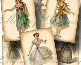 SALE!!! Victorian Costumes Digital Collage Sheet Vintage, Ballet, Theatre, Opera, Ballerina, Aged Digital Download ATC #8 - INSTANT Download