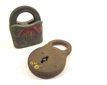 2 Vintage Padlocks  Yale and Corbin Rusty Crusty Shabby