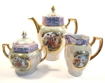 SALE! Vintage Lustreware Tea Set  Made in Germany  Green Blue Gold