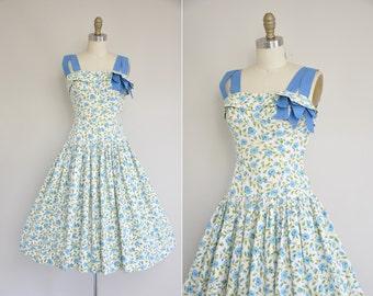 vintage 1950s dress / 50s blue floral cotton dress / 1950s 50s full skirt dress