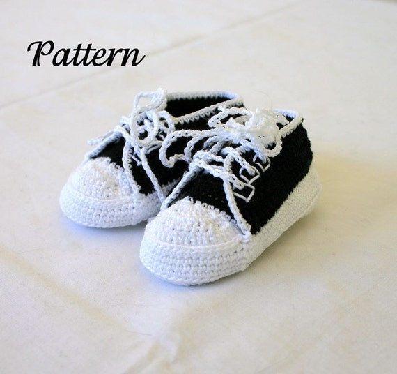 Free Crochet Pattern For Baby Tennis Shoes : Baby sneakers PDF crochet PATTERN 0-3 month infant tennis