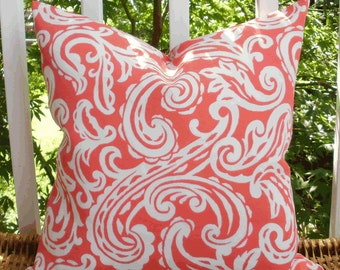SALE ~ Decorative Outdoor Pillow ~ 18 X 18 Outdoor Pillow Cover in Coral and White Paisley...Home and Living