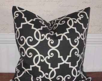 SALE ~ Decorative Pillow Cover: Designer 18 X 18 Accent Throw Pillow Cover Trellis Design in Charcoal and White