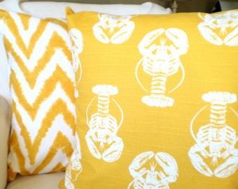 SALE Yellow Nautical Pillow Covers Decorative Throw Pillows Cushion Covers Yellow White Lobster Diva Chevron Beach Set of Two Various Sizes