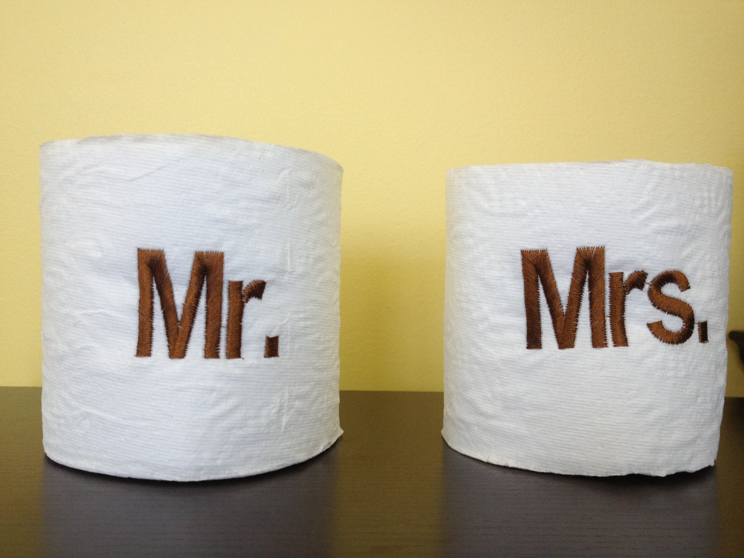 Embroidered mr mrs toilet paper set by shaneethomasdesigns for Design your own toilet paper