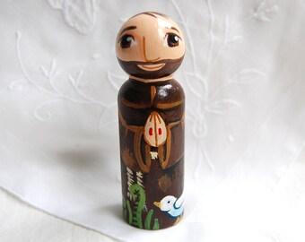 Saint Francis of Assisi Catholic Saint Doll - Wood Peg Statue - Made to Order