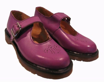Dr Martens Mary Jane Shoes Womens Vintage 1980s NaNa Purple Leather DMs Baby Dolls from England Wms US size 8
