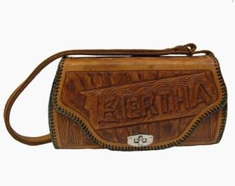Hand Tooled Bertha Leather Purse Vintage Rustic Wood Tone Western Kitsch Handbag