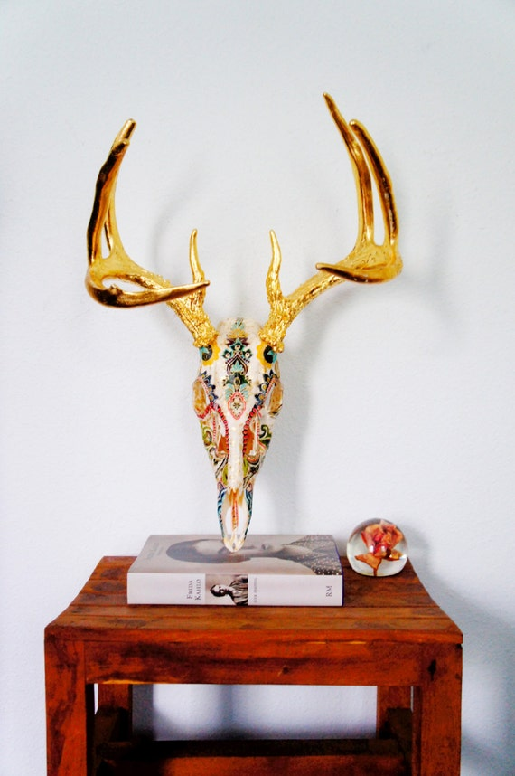 pre order first dibs fully collaged deer skull taxidermy