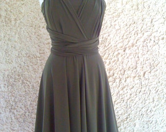 Bridesmaids dress  in color olive green  with tube-top Convertible/Infinity Dress