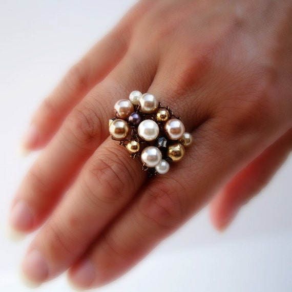 Copper Cocktail Ring Ivory Pearl Large Cluster Ring Pearls and Crystals Fall Bronze Brown Wire Knit Jewelry