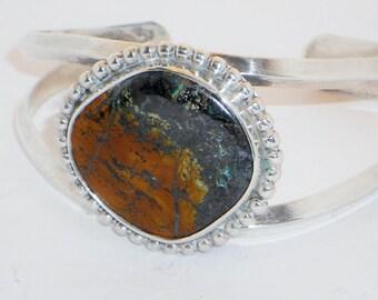 SALE Vintage Silver Agate Cuff Bracelet, Jewelry