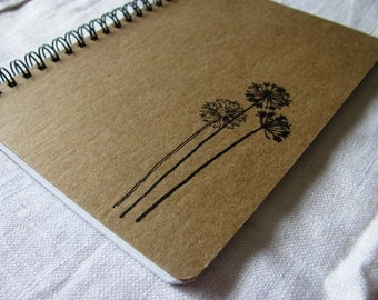 Whimsical Dandelion hand stamped chipboard notebook- 5 x 7 inches