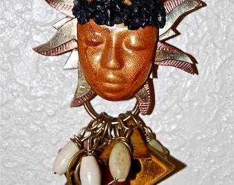 ON SALE-Mixed Media Sun Goddess Brooch