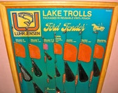 Vintage Luhr Jensen Lake Trolls Old Store Display Board Advertisement / Sign / Fishing Lure / Framed