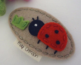 Felt hair clip -No slip -Wool felt -Lucy the ladybird -tan