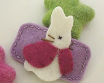 Felt hair clip -No slip -Wool felt -Bunny Rabbit -lilac