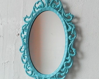 Small Princess Mirror in Vintage Wintermint 8 by 5 Inch Metal Frame, Vintage Wall Decor, Small Gifts