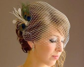 Birdcage Veil ,peacock Feathers Fascinator,(2 ITEMS), bridal Feathers Fascinator, Hair Accessories,bridal head piece