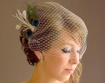 Birdcage Veil ,peacock Feathers Fascinator,(2 ITEMS), bridal Feathers Fascinator, Hair Accessories,bridal head piece
