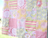 Pink Baby Blanket  Quilt Riley Blake Fabric Gray Minky