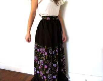 vintage maxi skirt mexican 60s brown embroidered floral hippie 1960s high waisted ruffle size extra small xs s