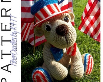 INSTANT DOWNLOAD : Yankee Doodle Teddy Bear Crochet Pattern