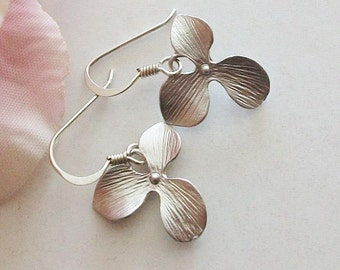 Orchid Earrings, Single orchid Earrings, Silver or Gold, Gift for Her, Sister, Friend, Bridesmaids gift