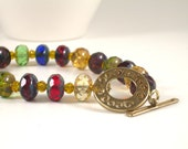 Jewel Tone Beaded Bracelet . Urban Chic Boutique Jewelry . 2014 Trends Red Yellow Blue Green .Gift Ideas for Her 20 and Under OOAK ZENDA