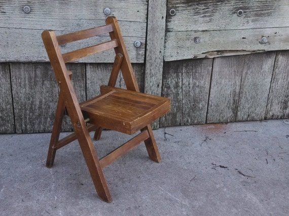 vintage child 39 s wooden folding chair wood chair kids